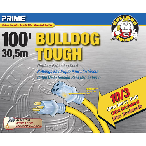 Prime Wire 100-Foot Bulldog Tough Ultra Heavy Duty Extension Cord With Indicator