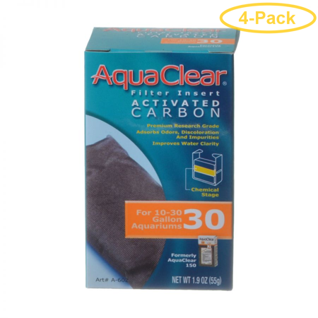 Aquaclear Powerhead Quick Filter (Aquaclear Activated Carbon Filter Inserts For Aquaclear 30 Power Filter - Pack of 4)