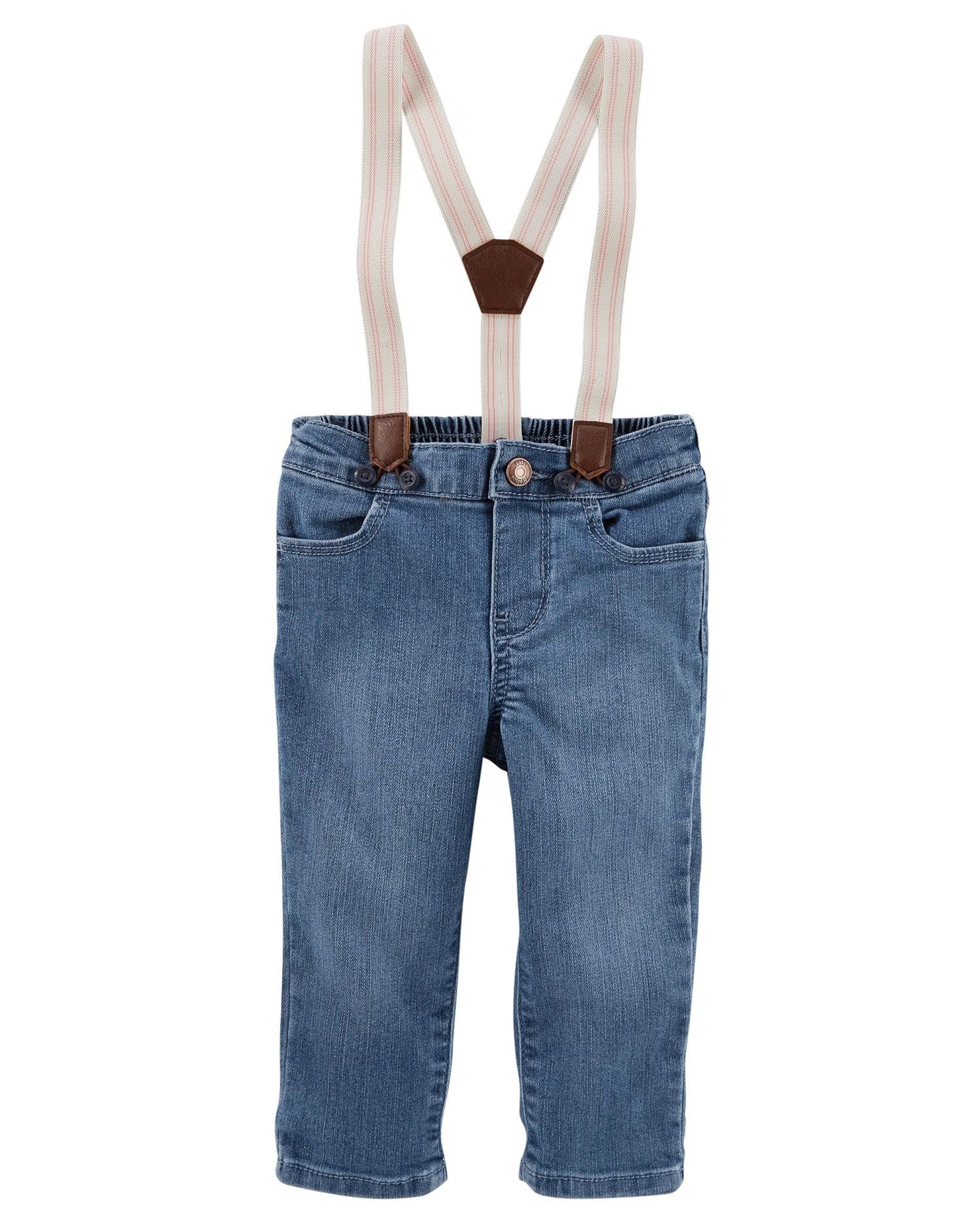 OshKosh B'gosh Baby Girls' Suspender Jeans, 12 Months