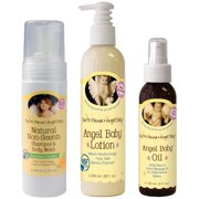 Earth Mama Angel Baby Non-Scented Shampoo and Body Wash with Body Lotion & Baby Oil