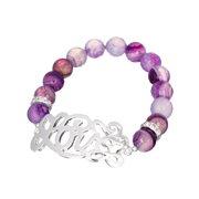 Love Script Glass Bead Stretch Silver-tone Bracelet