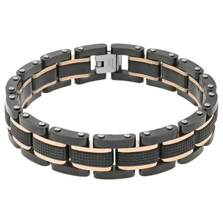Lavari - Stainless Steel Textured Bracelet Rose Ip
