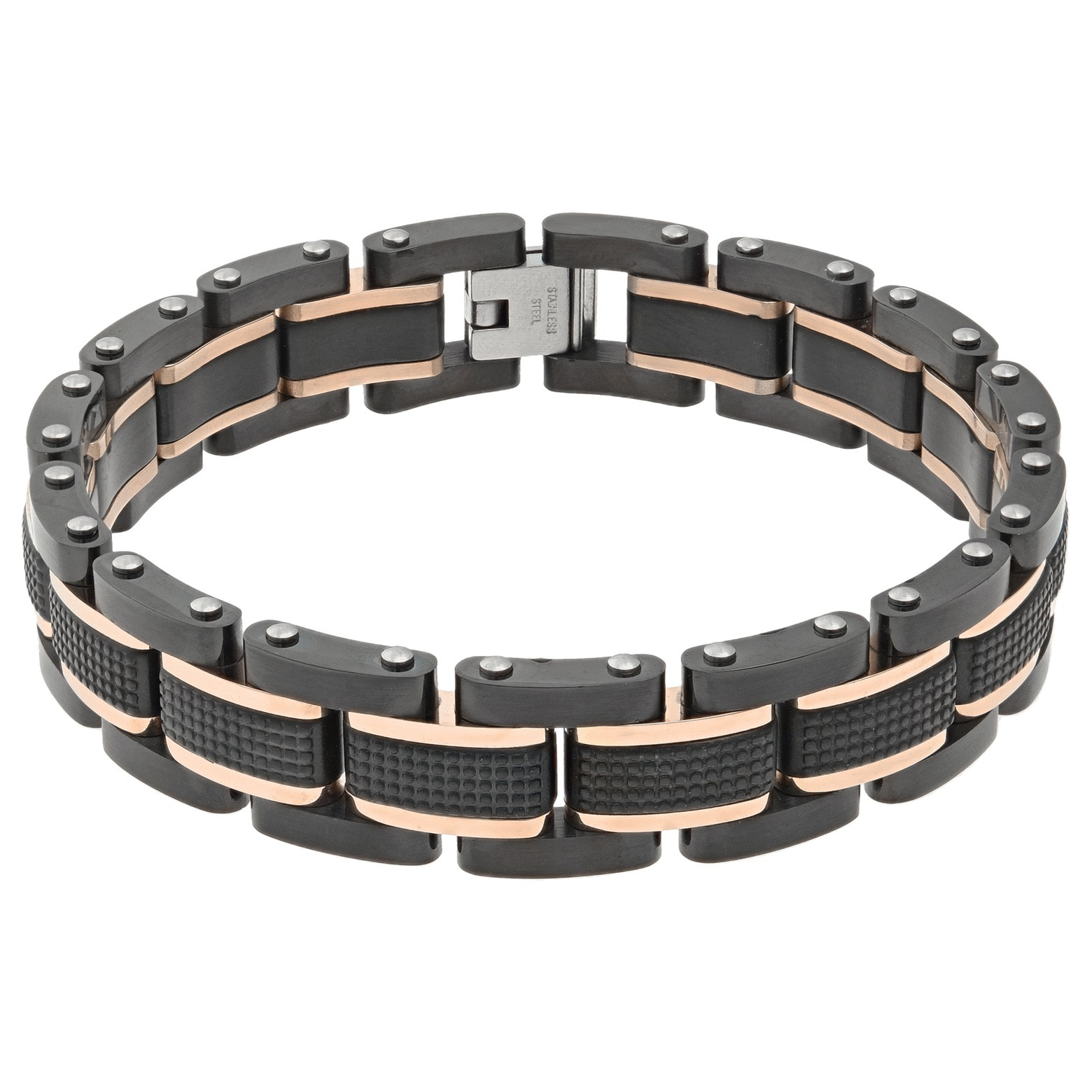 Stainless Steel Textured Bracelet Blue Ip Plating