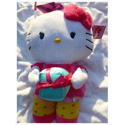 miss kitty plush party greeter with present 24 inches tall