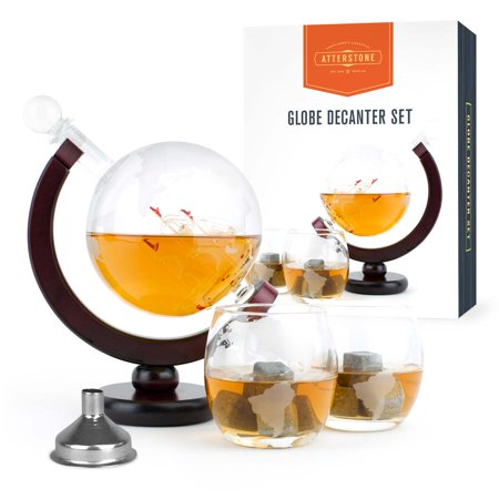 Atterstone Globe Whiskey Decanter Set, 850-ml Gift Set with Globe Glasses, 9 Whiskey Stones and Stainless Steel Funnel ()