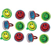 Smile Face Pill Puzzle Rings - Pack Of 12 - 1 Inch, Plastic, Assorted Colors - Small Cute Game Ring - For Kids, Great Party Favors, Bag Stuffers, Toy, Fun, Gift, Novelty, Prize - By Kidsco