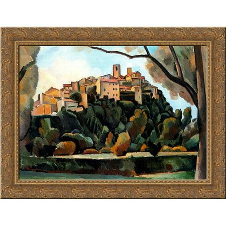 Vista De Saint Paul De Vence 24X18 Gold Ornate Wood Framed Canvas Art By Andre Derain