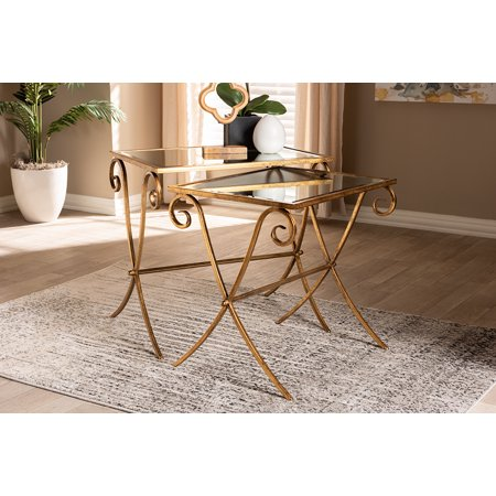 Baxton Studio Ambre Modern and Contemporary Antique Gold Finished Metal and Mirrored Glass 2-Piece Stackable Accent Tray Table Set