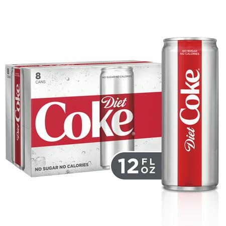 (3 Pack) Diet Coke Slim Can Soda, 12 Fl Oz, 8