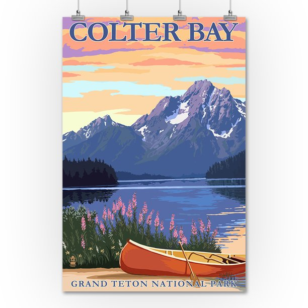 Grand Teton National Park Wyoming Colter Bay Lantern Press Artwork 36x54 Giclee Gallery Print Wall Decor Travel Poster Walmart Com Walmart Com