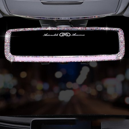 KABOER Rhinestone Diamond Car Interior Rearview Mirror Decoration Rhinestone Crystal Car Rear View Mirror Cover Auto Accessories for Girls Women (Car Accessories Girly)