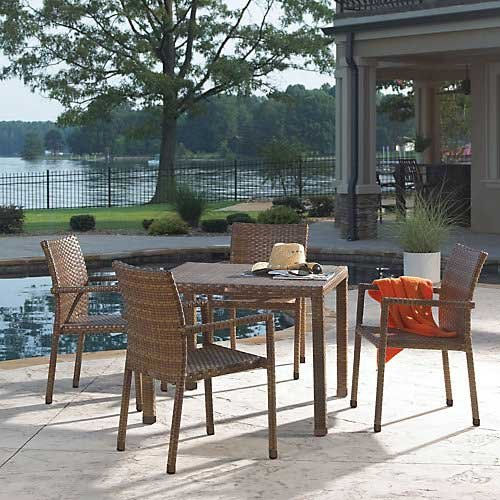 "Panama Jack 5 PC St Barths Arm Chair Dining Set (4 Arm Chairs & 36"" Square woven table)"