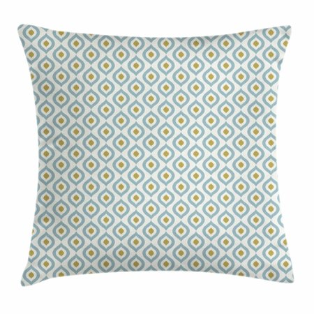 Ikat Throw Pillow Cushion Cover, Vintage Tribal Indonesian Design South Asia Circular Peacock Tail Pattern, Decorative Square Accent Pillow Case, 20 X 20 Inches, Khaki Pale Slate Blue, by Ambesonne