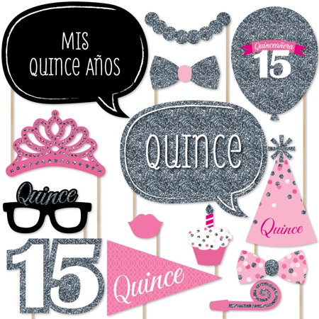 Quinceanera Pink - Sweet 15 - Birthday Party Photo Booth Props Kit - 20 - Sweet 15 Themes
