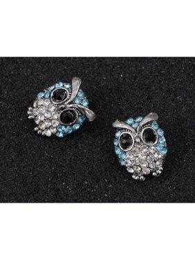 4140c678a73 Product Image Silver Tone Light Blue Rhinestones Cute Baby Owl Bird Stud  Earrings