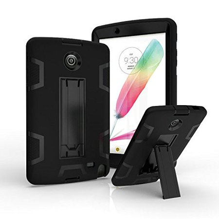 LG G Pad 2 8.0 /G Pad F 8.0 Case, UUcovers Drop Protection Heavy Duty Armor Defender Shockproof Hybrid Protective Cover with Kickstand for LG G Pad II 8.0 V495 V496 V498 , Black