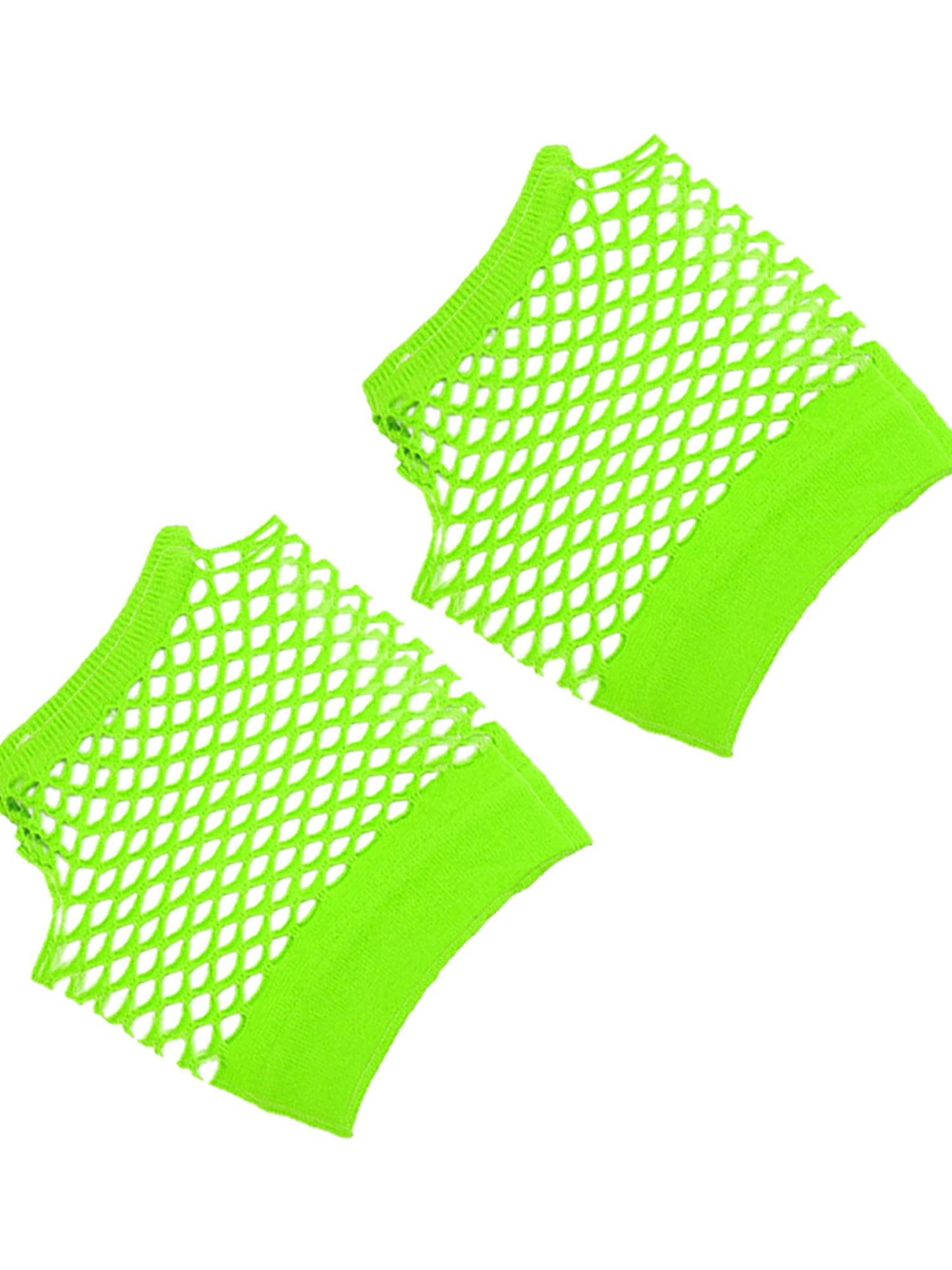 Unique Bargains Pair Women Elastic Wrist Mesh Style Mittens Gloves Green