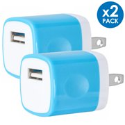 USB Wall Charger Adapter 1A/5V 2-Pack Travel USB Plug Charging Block Brick Charger Power Adapter Cube Compatible with iPhone Xs/XS Max/X/8/7/6 Plus, Galaxy S9/S8/S8 Plus, Moto, Kindle, LG, HTC, Google