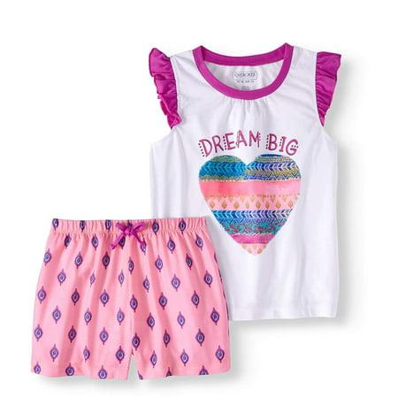 Cherokee Girl's Dream Big Shorts Sleep wear Set, Summer Pajama Set, Cute PJs Gift Set for Girls, Birthday Ideas for Kids Girl (6/6X)](Cute Girl Pjs)