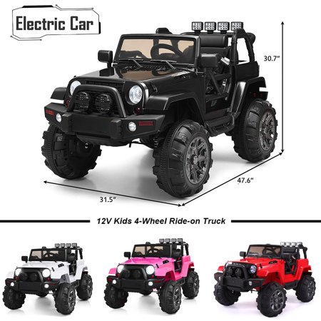 Electric Cars for Boys, Black Electric Cars for Kids to Ride, Ride On Jeep Car for Child, 12V Kids Ride-On Truck Car w/ Remote Control, 3 Speeds, Spring Suspension, LED Lights