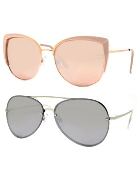f720854c7f3 Product Image Time and Tru Women s Metal Sunglasses 2-Pack Bundle  Cat-Eye  Sunglasses and