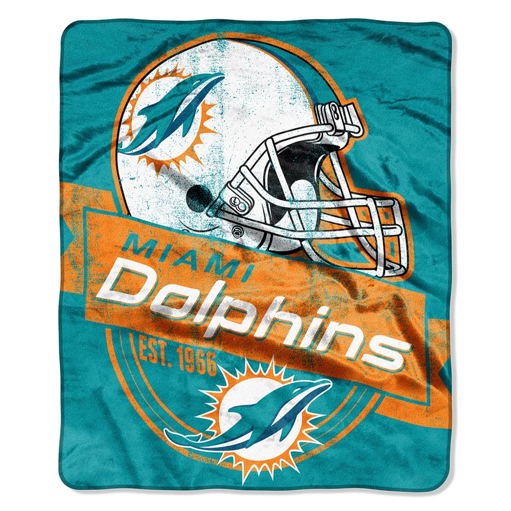 """Miami Dolphins 50""""x60"""" Royal Plush Raschel Throw Blanket - G"""