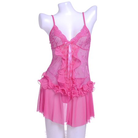Long Negligee - S/M Fit Pink Sweet and Fresh Cascading Ruffle Front and Waist Negligee