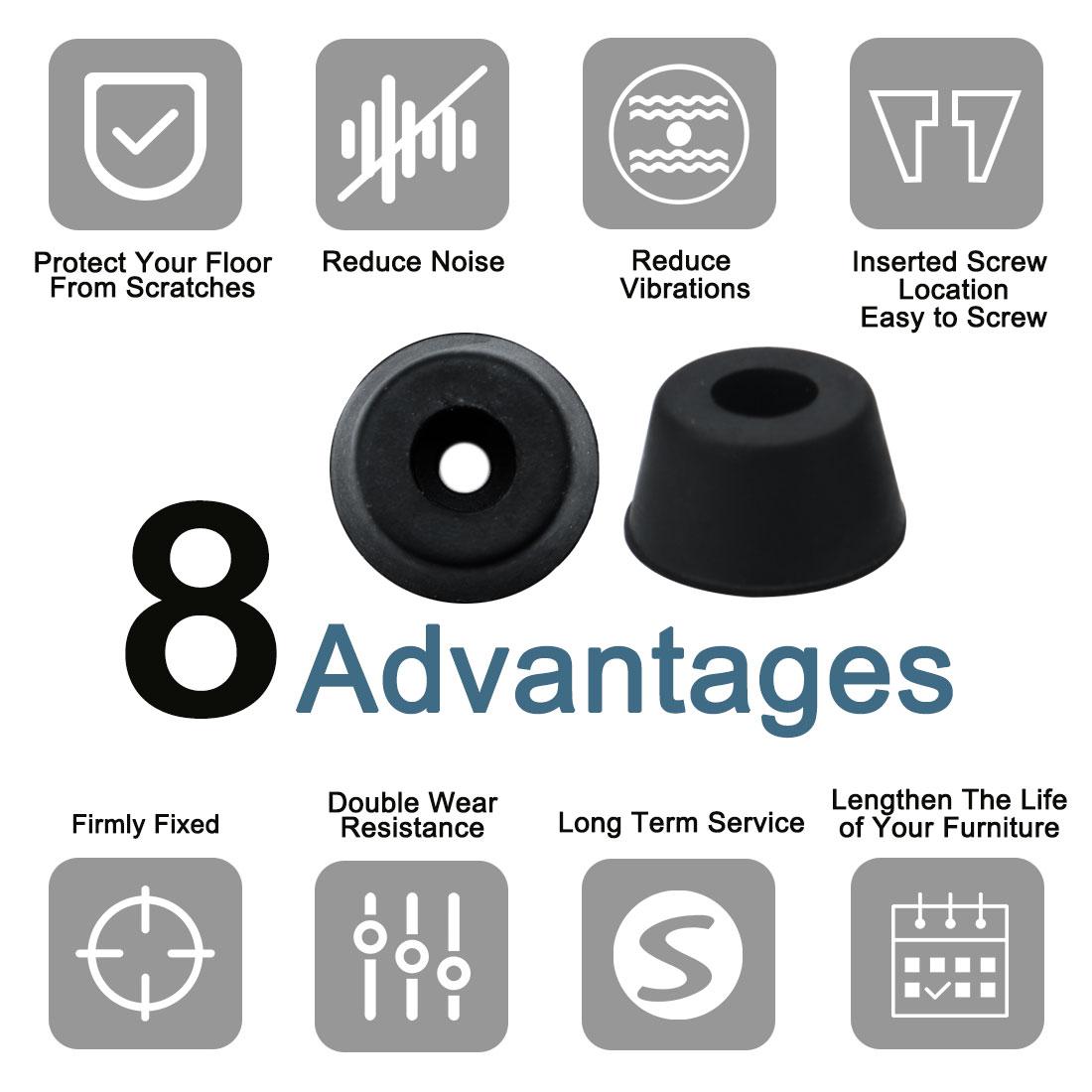 10pcs Rubber Feet Bumper for Amplifier Printer Cabinet Desk Leg, D21x16xH12mm - image 2 de 7