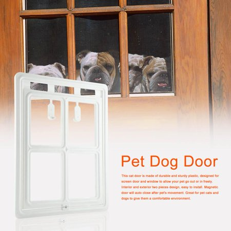 Ashata Plastic Pet Dog Puppy Cat Door Magnetic Locking Safe Flap For