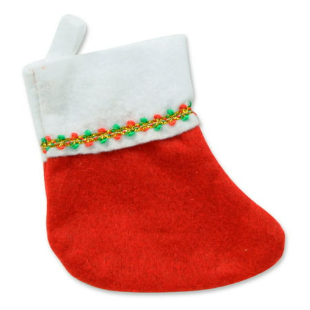 Club Pack of 72 Red and White Mini Stocking with Gold Accents Christmas Decorations - Stocking Decorations