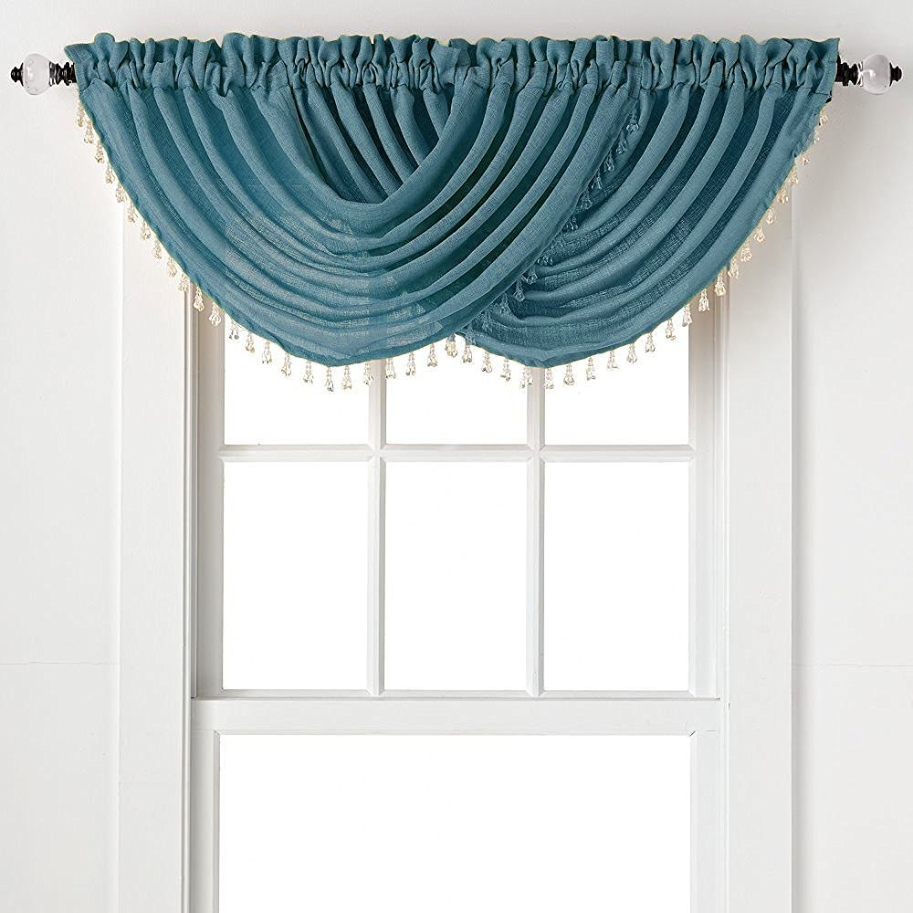2-Pack: Beaded Emerald Crepe Waterfall Valances - Pacific Blue