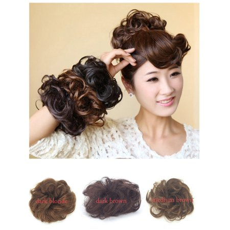 FLORATA Human Hair Bun Extensions Wavy Curly Messy Hair piece Donut Real Remy Updo Hair Ponytail