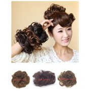 FLORATA Human Hair Bun Extensions Wavy Curly Messy Hair piece Donut Real Remy Updo Hair Ponytail Extensions