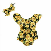 Newborn Infant Baby Girls Sleeveless Romper Bodysuit Jumpsuit Outfit Set Clothes