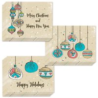 Vintage Ornaments Holiday Cards 3 Assorted Classic Retro Designed 24 Pack with Envelopes Christmas Tree Decorations Send Warm Wishes to Family Coworkers Friends 24 Mix Boxed Set by Digibuddha VHA0015B