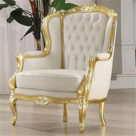 acme furniture 59144 kassim gold white traditional accent wing arm