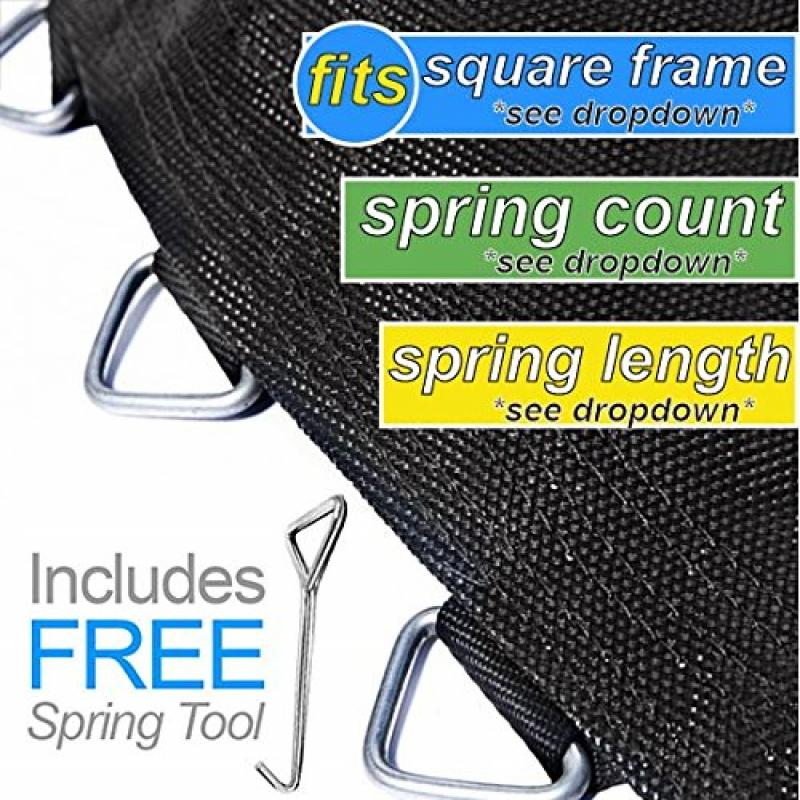 "Replacement Trampoline Mat by Trampoline Pro Mats that fit 10ft, 12ft, 13ft, 14ft and 15ft Frames (Fits SQUARE Frames, 11' Square - 72 Rings - Using 6.5"" Springs)"