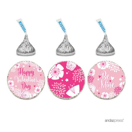Chocolate Drop Labels Trio, Hershey's Kisses Party Favors, Happy Valentine's Day Floral, 216-Pack](Valentines Party Ideas)