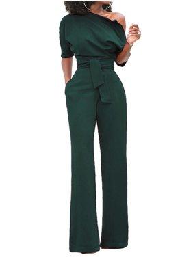 One Shoulder Women Short Sleeve Solid One Piece Jumpsuit