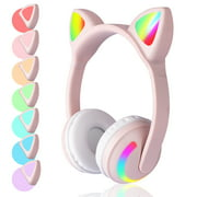 TSV Bluetooth Headphones Wireless Over Ear Cat Ear Headphones with 7 Colors LED Light, Built-in Microphone and Volume Control, Fit for Cell Phones/iPhone/iPad/Laptop/PC/TV, for Kids Boys Girls Friends