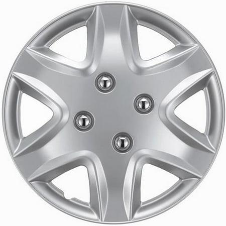 KT Six Spoke Design Silver ABS 14-Inch Hub Caps (Set of 4) ()