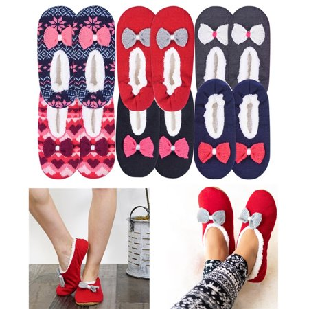 2 Pair Women Knit Sherpa Lined Thermal Fuzzy Slipper Anti Slip Socks US S/M M/L Adult Ruby Red Slippers