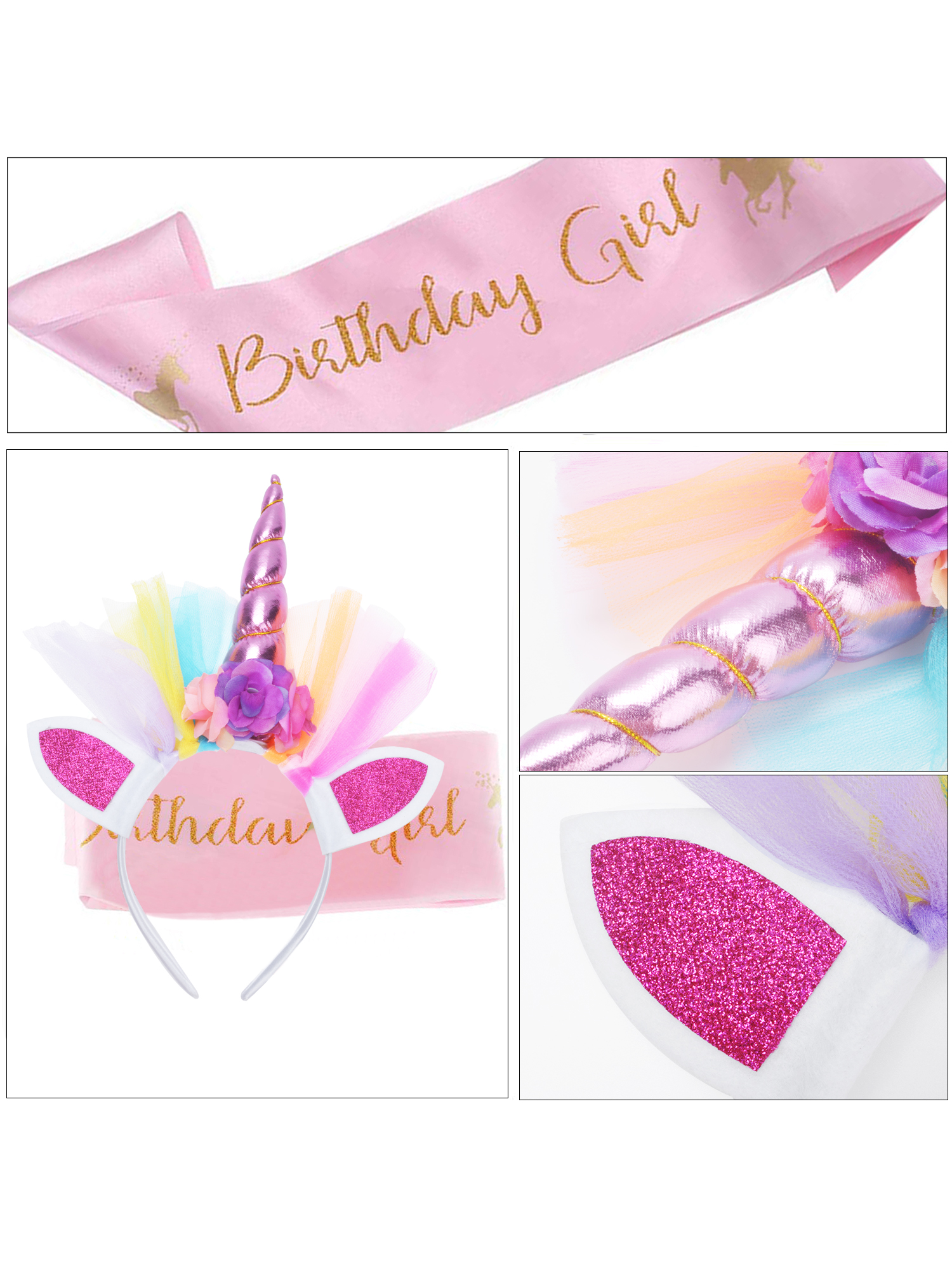 Unicorn Happy Birthday Girl Set of Gold Glitter Unicorn Headband Pink Satin Sash for Girls Happy Birthday Unicorn Party Favors Supplies Theme Decorations