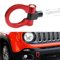 iJDMTOY Red Track Racing Style Tow Hook Ring For 2015-up Jeep Renegade Latitude, Sport, Limited models (Except Trailhawk), Made of Lightweight Aluminum