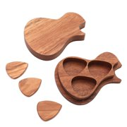 Suzicca Delicate Wooden Guitar Pick Set Plectrum Storage Holder Case Box with 3pcs Guitar Picks Wood Guitar Accessories