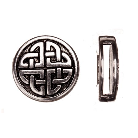 10pcs Celtic Knot Round Antique Silver-Plated Flat Leather Cord Charm Fits 2x13mm Cord, 18x5mm (Bristle Stringer Bead Knot)