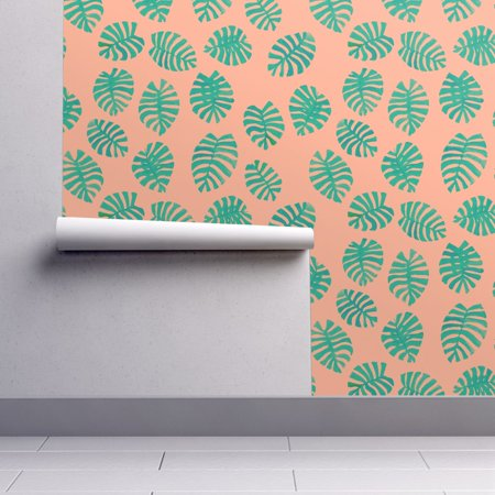 Peel-and-Stick Removable Wallpaper Tropical Leaf Pink And Green Preppy Tropical ()