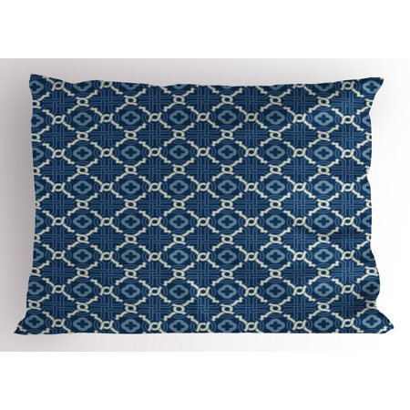 Arabian Theme Dress (Quatrefoil Pillow Sham Ethnic Arabian Tessellation Theme Entwined Curved Motifs of Marrakesh Tile Art, Decorative Standard King Size Printed Pillowcase, 36 X 20 Inches, Blue White, by)