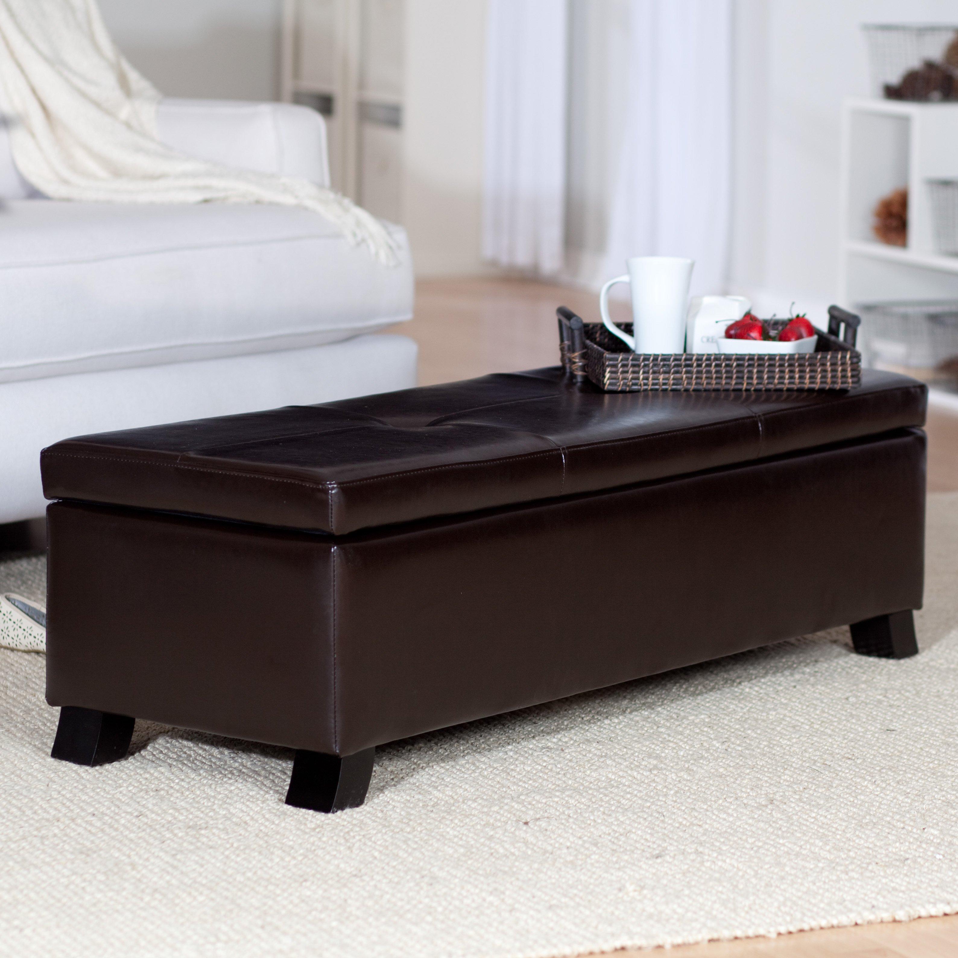 crawford leather storage bench ottoman  walmartcom -