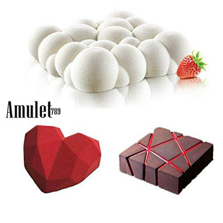 - 3PCS Art Cake Mould Pan 3D Grid Block Clouds Diamond Heart Silicone Mold Mousse Silikonowe Chocolate